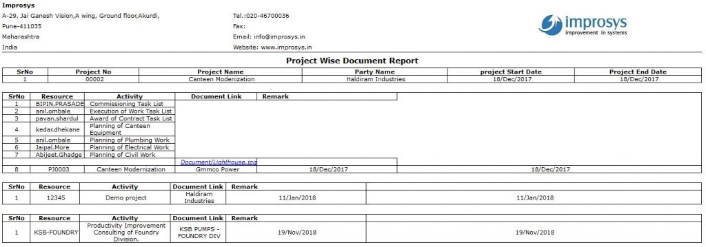 Project-wise Report